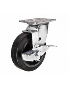 Колесо большегрузное обрезиненное поворотное с тормозом SCdb100 (диам.100 мм)