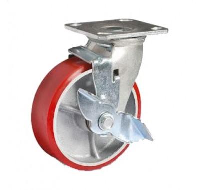 Колесо большегрузное полиуретановое поворотное с тормозом SCpb200(диам. 200мм)