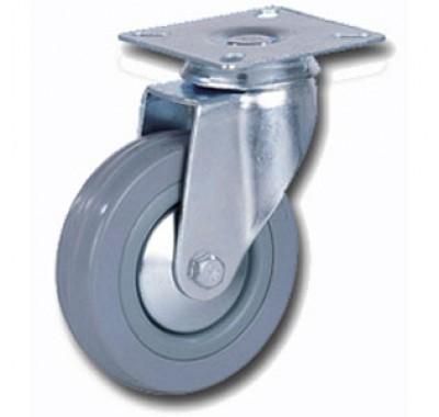 Колесо аппаратное серая резина поворотное с тормозом SCgb100 (диаметр 100 мм)