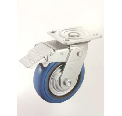 Колесо большегрузное полиуретановое поворотное с тормозом C550H\EKU6200B (диаметр 160 мм)
