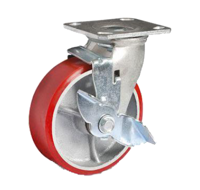 Колесо большегрузное полиуретановое поворотное с тормозом SCpb100(диам. 100мм)