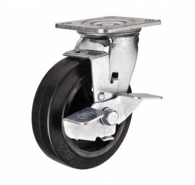 Колесо большегрузное обрезиненное поворотное с тормозом SCdb125 (диам.125 мм)