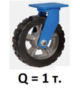Колесо большегрузное поворотное RXDSR-200, резина (Д=200 мм, Q=1000 кг)